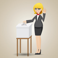 cartoon businesswoman voting with ballot box