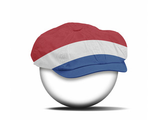 fashion hat on white with the flag of Netherlands