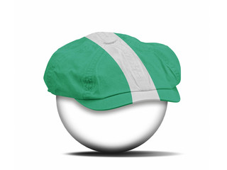 fashion hat on white with the flag of Nigeria