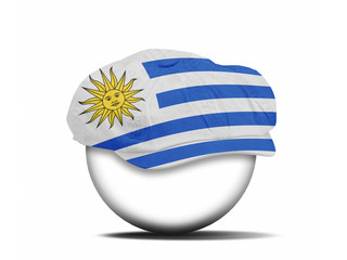 fashion hat on white with the flag of Uruguay
