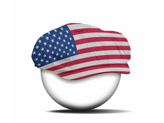 fashion hat on white with the flag of USA