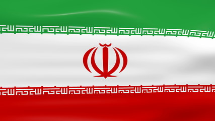 Waving Iran Flag, ready for seamless loop.