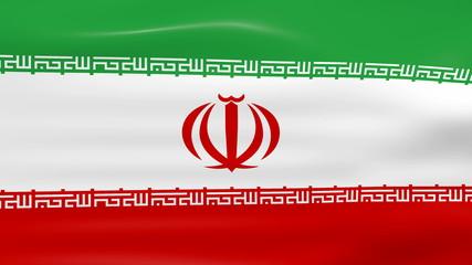 Waving Iran Flag, ready for seamless loop.