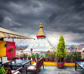 Rooftop restaurant and Bodnath stupa