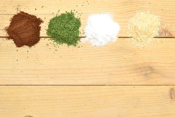 spices on a wooden