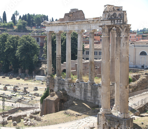 Rome, bird's-eye view of the ancient Fori imperiali with the rem