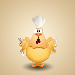 chicken with cutlery and chef's hat