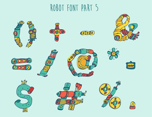 vector cartoon colorful robot font (type) part 5