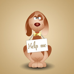 illustration of a funny dog with sign