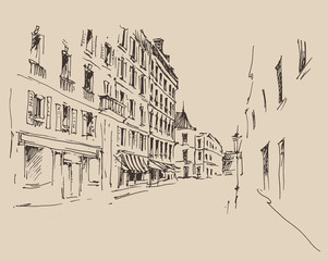 streets in Paris,  vintage engraved illustration, hand drawn
