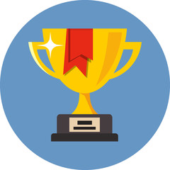 Vector Trophy Cup with red ribbon
