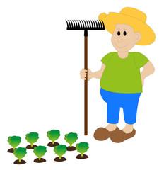 contadino con rastrello
