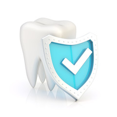 White tooth covered with the shield