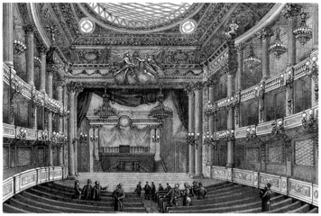 Interior : Theatre 17th century - View 19th century