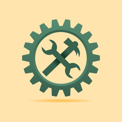 Tools icon inside the cog wheel stock vector