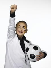 Deutsch Fußball-Fan -Holding-Fußball