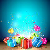 Fototapety Celebrate background with gift boxes and confetti