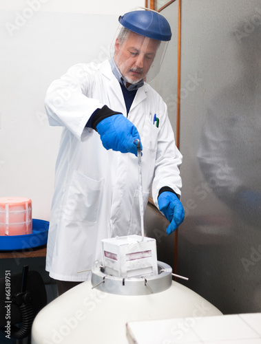 Scientist taking samples from a cryogenic nitrogen container