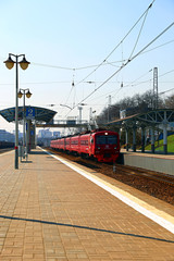 Aeroexpress Electric train Russian Railways in Moscow