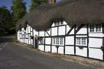 Timber framed thatched cottages Hampshire England UK
