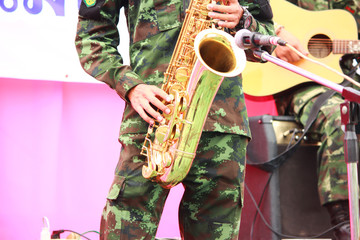 Soldiers playing saxophone