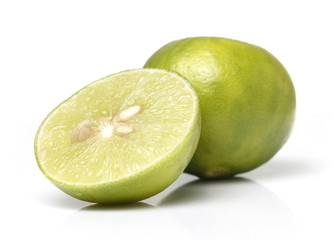 Green Lemons in White background