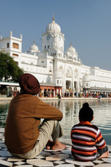 Sikhs family at the Golden temple