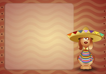 Dog with poncho and sombrero