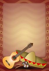 Guitar with sombrero and maracas