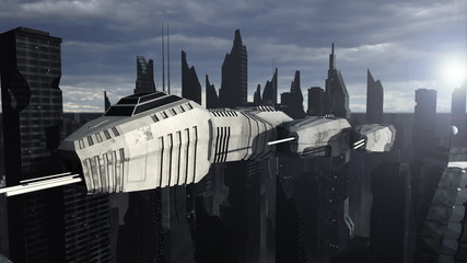 Spaceship flying above a futuristic city