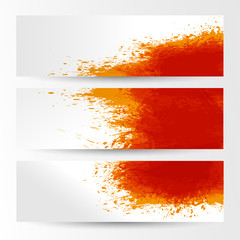 set of three banners, abstract headers with orange blots