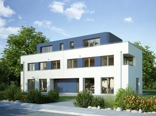 Doppelhaus weiss blau 2
