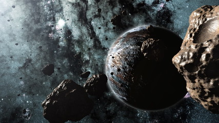 Asteroids and a planet 3d animation