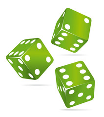 Three green casino dices.