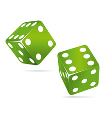Two green casino dices.