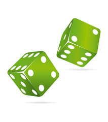 Two green casino dices. Icon II.