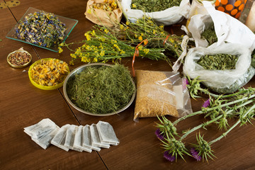 herbs at table