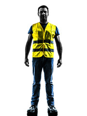 caucasian man safety vest standing silhouette