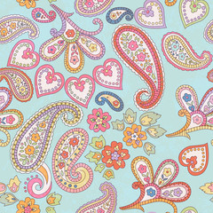 Hand drawn decorative seamless pattern with paisley