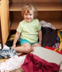 Baby girlat closet