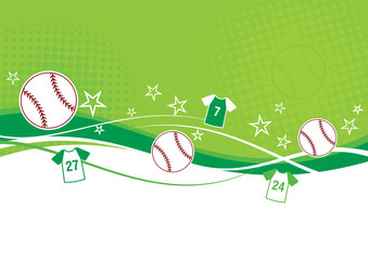 Baseball background with shirts, stars and baseballs