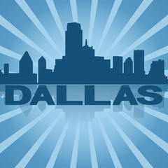 Dallas skyline reflected with blue sunburst illustration
