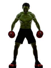 man weights training  exercises strong like Hulk
