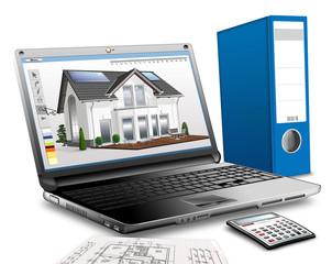 Laptop,Bauplanung mit Taschenrechner und Ringordner