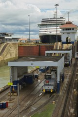 Cruise ship going through locks in Panama Canal