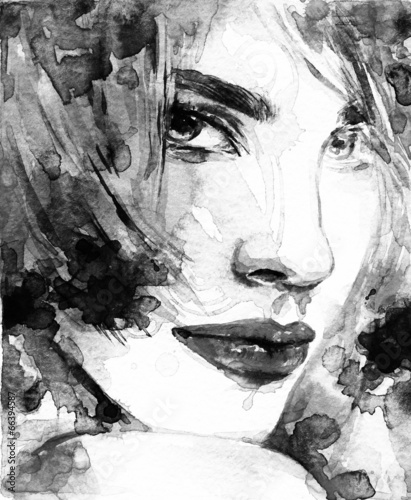 Poster abstraktes Aquarell. Frauenportrait