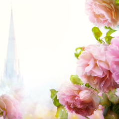 abstract Beautiful morning floral border background