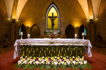Beautiful altars of Catholic church in Thailand