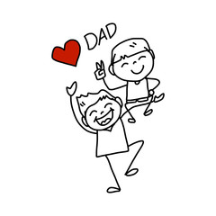 Happy Father's Day cartoon hand drawing