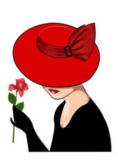 дама в красной шляпке с розой в руке